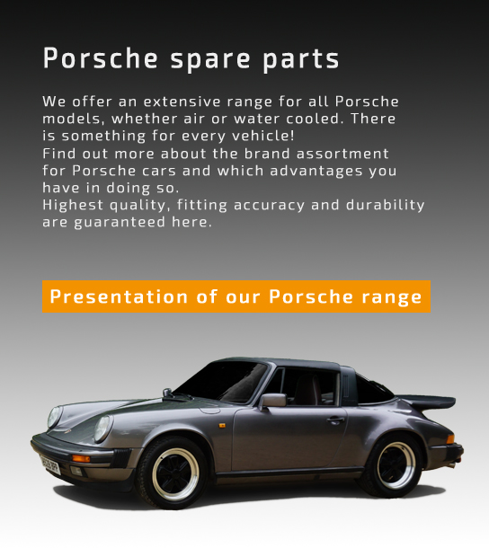 Teaser for presentation of Porsche spare parts page mobile